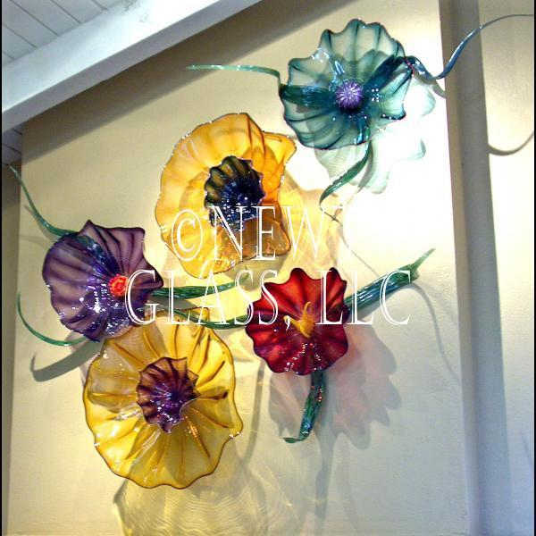 Botanical blown art glass wall flowers ... : glass blown wall art - www.pureclipart.com