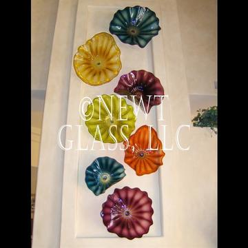 Fireplace Display of vertical glass plates