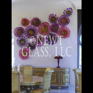 Purple and Pink glass wall art sculpture