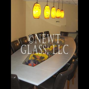 Table,glass art and pendants for Law Firm