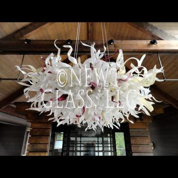 Blown glass chandelier for MT home
